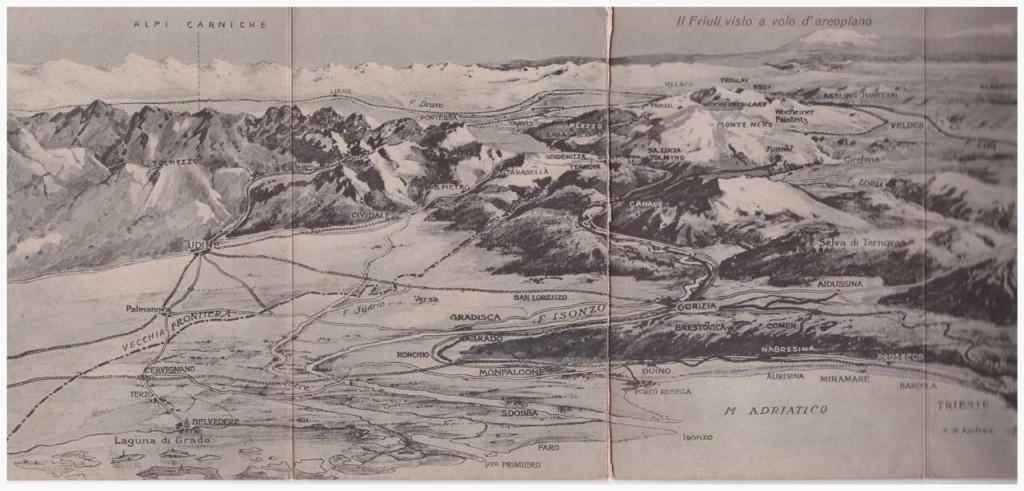 Veduta aerea del Friuli in cartolina a 4 ante
